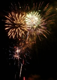 Beach Fire Works Display Photograph
